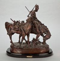 PROPERTY FROM A SOUTHWESTERN PRIVATE COLLECTION  PATINATED FIGURAL BRONZE AFTER EVENGY ALEKSANDROVICH LANSERE (RUSSIAN...