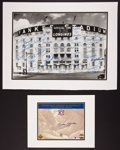 Baseball Collectibles:Photos, New York Yankees Legends Multi Signed Prints Lot of 2....