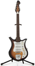 Musical Instruments:Electric Guitars, 1960's Teisco Decca Sunburst Solid Body Electric Guitar, No Serial Number....