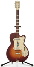 Musical Instruments:Electric Guitars, Silvertone Jimmy Reed Thin-Twin Sunburst Semi-Hollow Body ElectricGuitar, No Serial Number....
