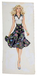 Pin-up and Glamour Art, AMERICAN ARTIST (20th Century). Fashionista in Floral Dress.Gouache on board. 15.75 x 7.25 in.. Not signed. From th...
