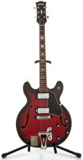 Musical Instruments:Electric Guitars, 1960's Univox 335 Copy Redburst Semi-Hollow Body Electric Guitar,Serial Number #2293495....