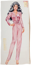 Pin-up and Glamour Art, AMERICAN ARTIST (20th Century). Fashionista in Pink. Gouacheon board. 14.5 x 6.75 in.. Not signed. From the Estate ...