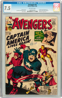 The Avengers #4 (Marvel, 1964) CGC VF- 7.5 Off-white pages
