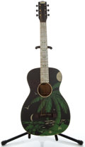 Musical Instruments:Acoustic Guitars, 1930's Winton Hawaiian Graphic Black Acoustic Guitar, No SerialNumber....