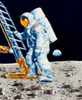 Mainstream Illustration, CHRIS CALLE (American, b. 1961). Marshall Islands Milestones inSpace, First Man on the Moon, April 18, 1990. Acrylic on...
