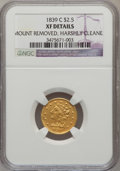 Classic Quarter Eagles: , 1839-C $2 1/2 --Harshly Cleaned, Mount Removed-- NGC Details. XF. NGC Census: (11/200). PCGS Population (26/111). Mintage: 1...