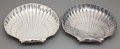 Silver Holloware, American:Bowls, PAIR OF GORHAM SILVER SHELL-FORM PLATES RAISED ON TWO BALL FEET .Providence, Rhode Island, 1943. Marks: (lion-anchor-G), ...(Total: 2 Items)