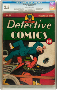 Detective Comics #34 (DC, 1939) CGC GD+ 2.5 Slightly Brittle pages