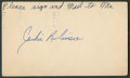 Baseball Collectibles:Others, 1951 Jackie Robinson Signed Government Postcard. ...