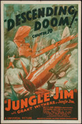 "Movie Posters:Serial, Jungle Jim (Universal, 1937). One Sheet (27"" X 41"") Chapter 10 --""Descending Doom."" Serial.. ..."