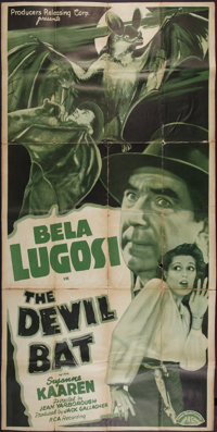 "The Devil Bat (PRC, 1940). Three Sheet (40"" X 78.5""). Horror"