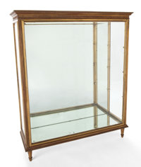 PAIR OF NEO-CLASSICAL STYLE GILT BRONZE AND GLAZED FRONT VITRINE CABINETS 20th century 50-1/2 x 41-1/2 x 14 in