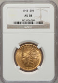 Indian Eagles: , 1915 $10 AU58 NGC. NGC Census: (665/3027). PCGS Population(622/2124). Mintage: 351,075. Numismedia Wsl. Price for problem ...