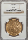 Liberty Double Eagles: , 1860 $20 AU50 NGC. NGC Census: (85/507). PCGS Population (92/243).Mintage: 577,670. Numismedia Wsl. Price for problem free...