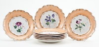 Whoopi Goldberg Collection  EIGHT WEDGWOOD QUEENSWARE BOTANICAL PLATES England, 19th century Marks: J
