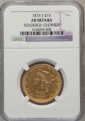 Liberty Eagles, 1874-S $10 --Cleaned, Soldered-- NGC Details. AU. NGC Census: (12/26). PCGS Population (9/8). Mintage: 10,000. Numismedia Ws...