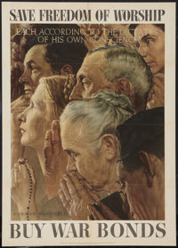 Norman Rockwell Four Freedoms Propaganda Poster (U.S. Government Printing Office, 1943). World War II OWI Poster No. 43...