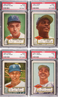 Baseball Cards:Lots, 1952 Topps Baseball High Number Brooklyn Dodgers PSA-GradedCollection (4)....