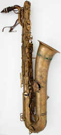 Musical Instruments:Horns & Wind Instruments, 1920's Buescher True-Tone Low Pitch Brass Baritone Saxophone,Serial Number #193320...
