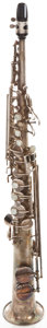 Musical Instruments:Horns & Wind Instruments, 1924 Buescher True-Tone Low Pitch Silver Soprano Saxophone, SerialNumber #137188....