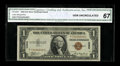 Fr. 2300 $1 1935A Hawaii Silver Certificate. CGA Gem Uncirculated 67. Hulking margins and perfect centering are found on...