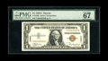 Fr. 2300 $1 1935A Hawaii Silver Certificate. PMG Superb Gem Unc 67EPQ. An exceptional example of this scarcer Y-B block...
