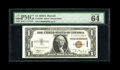 Small Size:World War II Emergency Notes, Fr. 2300 $1 1935A Hawaii Silver Certificate with low #298. PMG Choice Uncirculated 64EPQ.. Low serial numbered notes on Hawa...