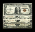 Small Size:World War II Emergency Notes, A Quartette of Hawaii Emergency Notes. Fr. 2300 $1 1935A Hawaii Silver Certificate Choice CU. Fr. 2302 $5 1934A Hawaii Feder... (Total: 4 notes)