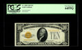 Small Size:Gold Certificates, Fr. 2400 $10 1928 Gold Certificate. PCGS Very Choice New 64PPQ.. A bold golden overprint and exceptionally bright paper are ...