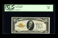 Small Size:Gold Certificates, Fr. 2400 $10 1928 Gold Certificate. PCGS About New 53.. Broad margins are noted....