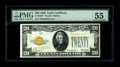 Small Size:Gold Certificates, Fr. 2402* $20 1928 Gold Certificate. PMG About Uncirculated 55.. An exceptional example of this elusive Gold star note that ...