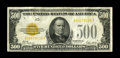 Small Size:Gold Certificates, Fr. 2407 $500 1928 Gold Certificate. Very Fine.. This example with excellent color for the grade and natural paper ripple is...