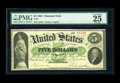 Large Size:Demand Notes, Fr. 2 $5 1861 Demand Note PMG Very Fine 25 EPQ. A solid and good-looking Demand Note, problem-free with excellent color. Dem...
