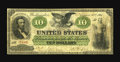 Large Size:Demand Notes, Fr. 7 $10 1861 Demand Note Very Good. Pleasing signatures are seenon this Demand Note that, despite the wear, has survived ...