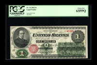 Fr. 16 $1 1862 Legal Tender PCGS Choice New 63PPQ. A fresh original example with good color and perfect paper embossing...