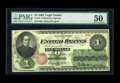Large Size:Legal Tender Notes, Fr. 16 $1 1862 Legal Tender PMG About Uncirculated 50. A corner bend and a slight split are all that affect this attractive ...