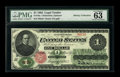 Fr. 16a $1 1862 Legal Tender PMG Choice Uncirculated 63 EPQ. Superb colors and ideal fresh, original paper surfaces high...