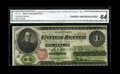 Large Size:Legal Tender Notes, Fr. 17a $1 1862 Legal Tender CGA Choice Uncirculated 64. A third party certified note with rich color showing on the Treasur...