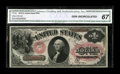 Fr. 26 $1 1875 Legal Tender CGA Gem Uncirculated 67. This is a broadly margined note which is very well centered on both...