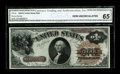 Fr. 30 $1 1880 Legal Tender CGA Gem Uncirculated 65. Traces of colored fibers add to the already rich color exhibited by...