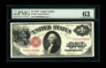 Fr. 36 $1 1917 Legal Tender PMG Choice Uncirculated 63. This brightly hued example would have benefited from a slightly...