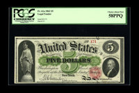 Fr. 61a $5 1862 Legal Tender PCGS Choice About New 58PPQ. A light double corner fold at the upper right no doubt account...