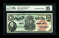 Large Size:Legal Tender Notes, Fr. 64 $5 1869 Legal Tender PMG Gem Uncirculated 65 EPQ.Watermarked Paper. We last handled this note as part of our 2005Ce...