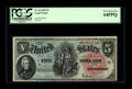 Large Size:Legal Tender Notes, Fr. 64 $5 1869 Legal Tender PCGS Very Choice New 64PPQ. This note traces its pedigree back to the Bebee Collection. Plenty o...