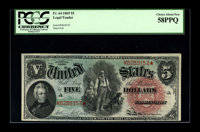 Fr. 64 $5 1869 Legal Tender PCGS Choice About New 58PPQ. A boldly colored, Rainbow Pioneer Five that falls just short of...