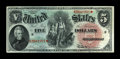 Fr. 64 $5 1869 Legal Tender Choice About New. The embossing is simply stupendous and the blue end deeply colored. A beau...