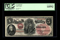 Large Size:Legal Tender Notes, Fr. 68 $5 1875 Legal Tender PCGS Very Choice New 64PPQ. This note falls into a run of reported CU examples. Its margins are ...