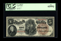 Fr. 71 $5 1880 Legal Tender PCGS New 62PPQ. The margin runs into the design right below Jackson. Overall the eye appeal...