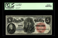 Fr. 73 $5 1880 Legal Tender PCGS Gem New 65PPQ. Pronounced original embossing is easily seen through the holder. Colorfu...